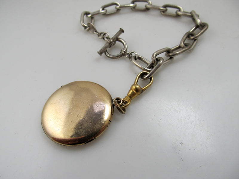 Vintage sterling silver gold filled locket bracelet