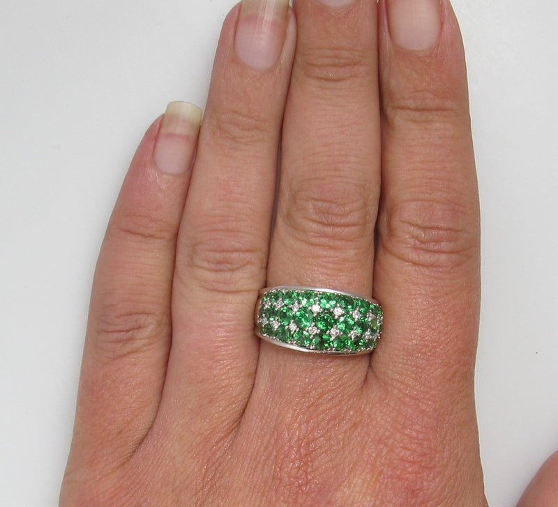 14k white gold ring with diamonds and tsavorite garnets
