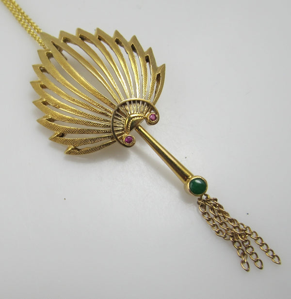14k yellow gold necklace with ruby and jade, circa 1940