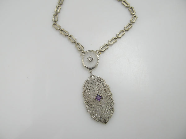 14k White Gold Filigree Camphor Glass Necklace With Amethyst And Diamond, Circa 1920