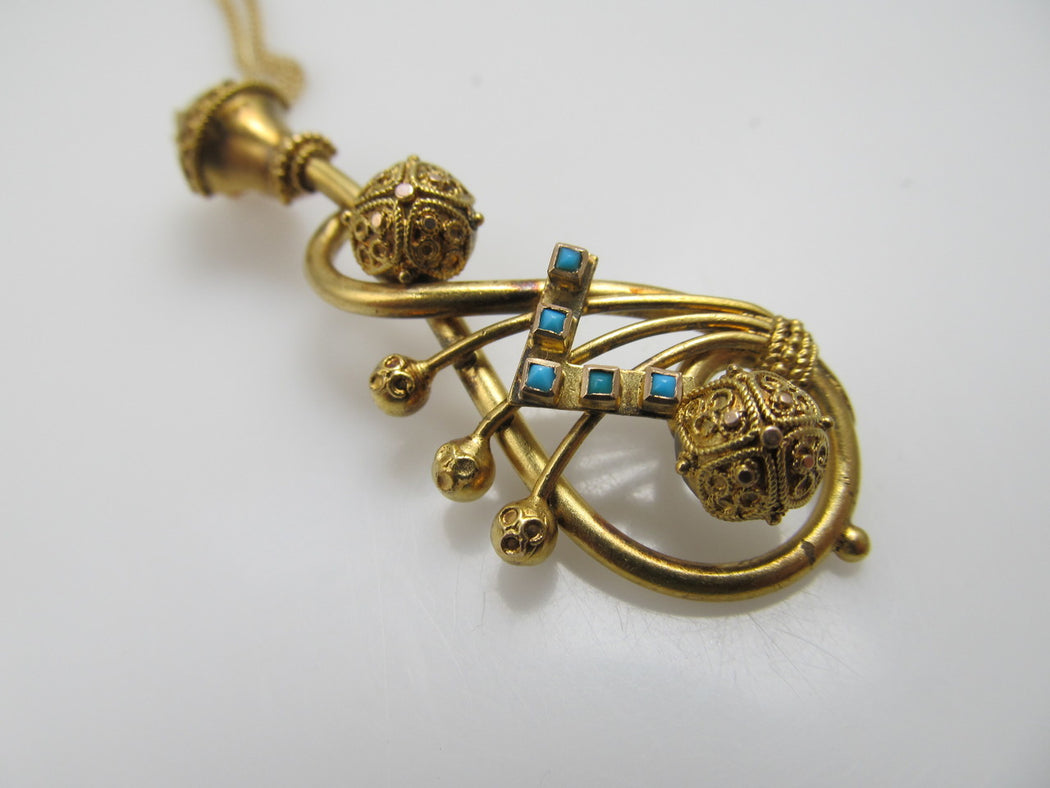 Victorian 14k Gold Necklace With Turquoise, Circa 1880