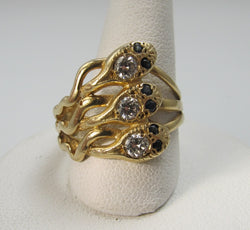 Vintage 14k gold snake ring, victorious cape may