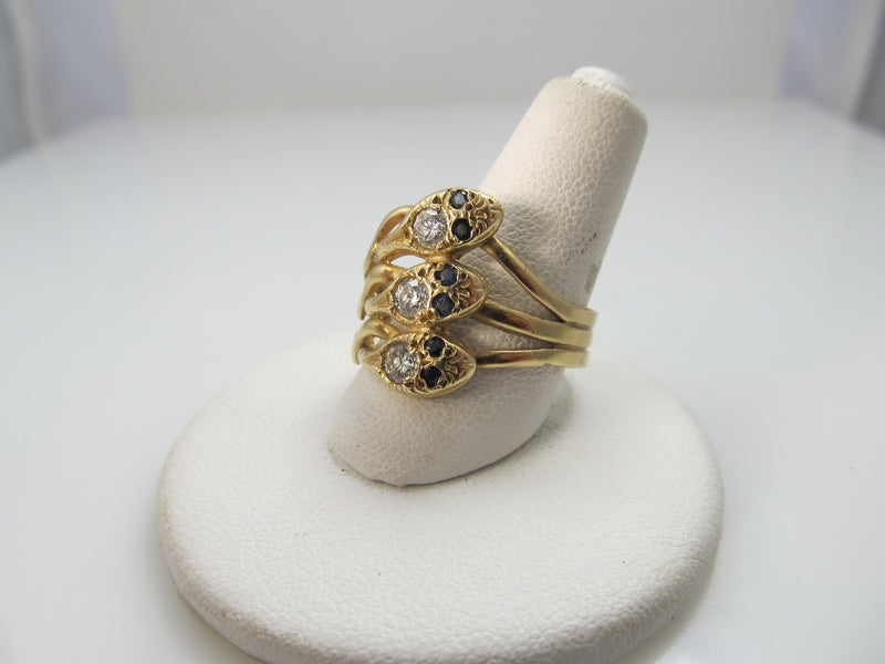 14k Yellow Gold Triple Snake Ring With Sapphires And .45cts In Diamonds
