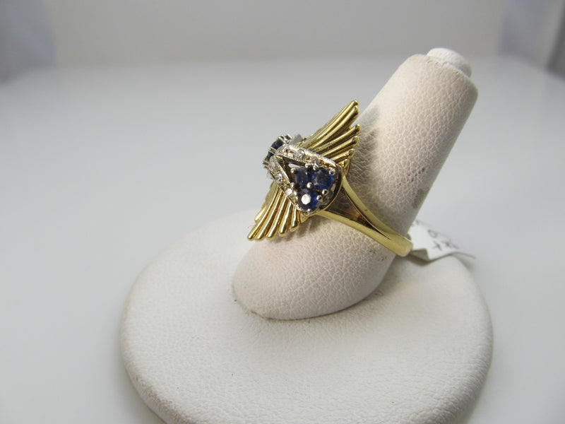 Vintage 18k Yellow Gold Ring With Sapphires And Diamonds, Circa 1940