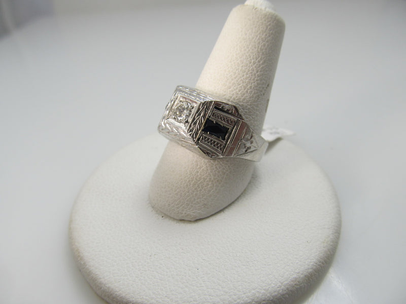 Vintage 18k White Gold Ring With A .20ct Diamond And Sapphires, Circa 1920