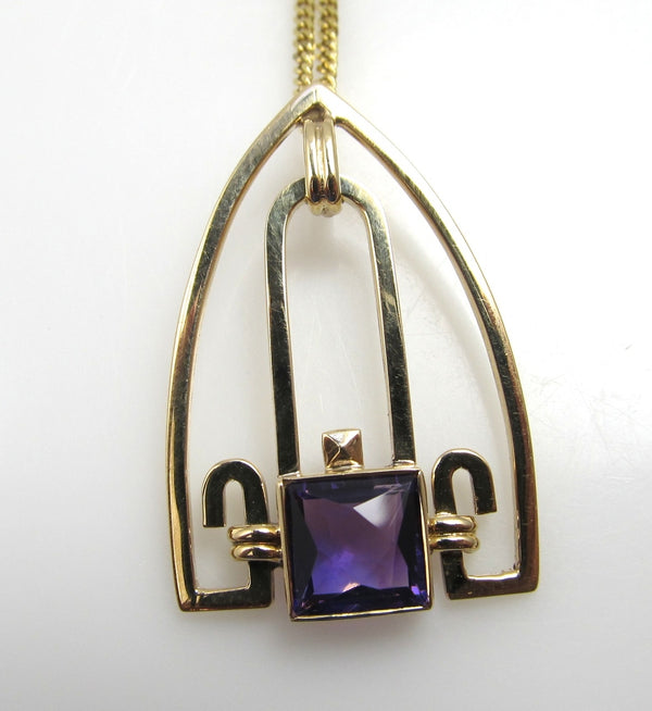 Art Deco 14k Yellow Gold Necklace With An Amethyst, Circa 1920