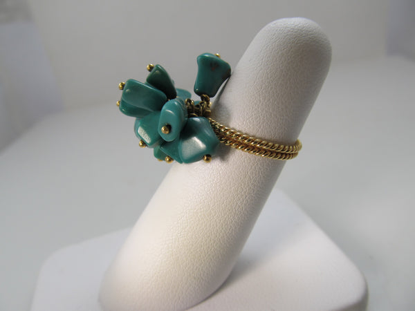 Vintage turquoise cha-cha ring, 18k yellow gold