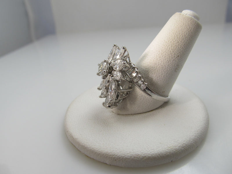 Vintage 14k White Gold Cocktail Ring With 2.40cts In Diamonds