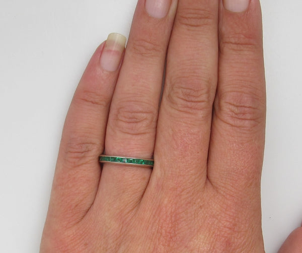 14k White Gold Eternity Band With 1ct In Natural Emeralds, Circa 1920