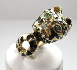 14k Yellow Gold Enamel Panther Ring With Emerald Eyes, Circa 1960