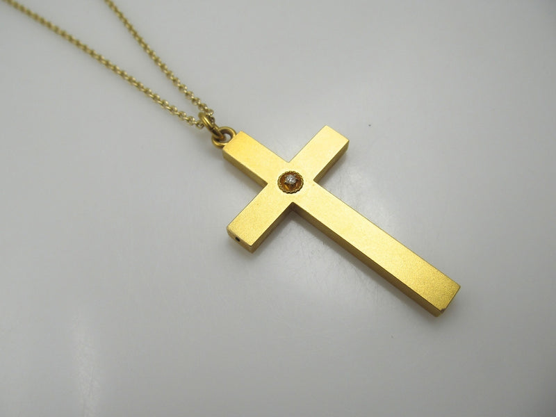 Antique 14k gold cross with a diamond, circa 1900