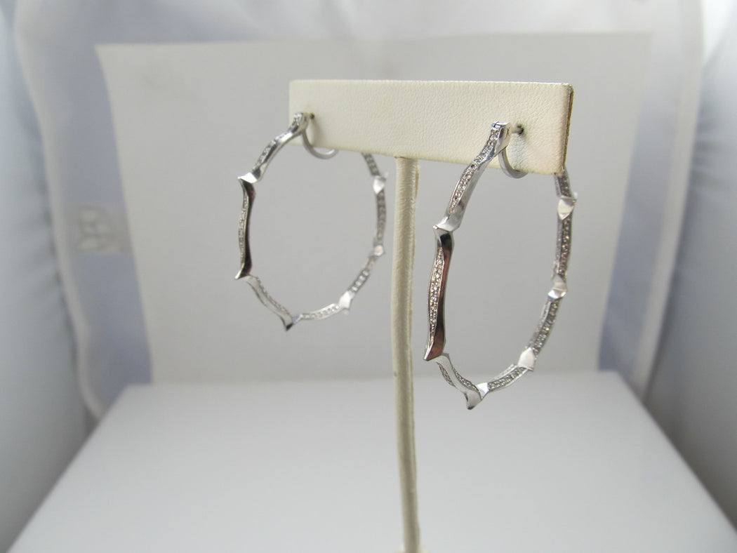 18k white gold hoop earrings with 2cts in diamonds