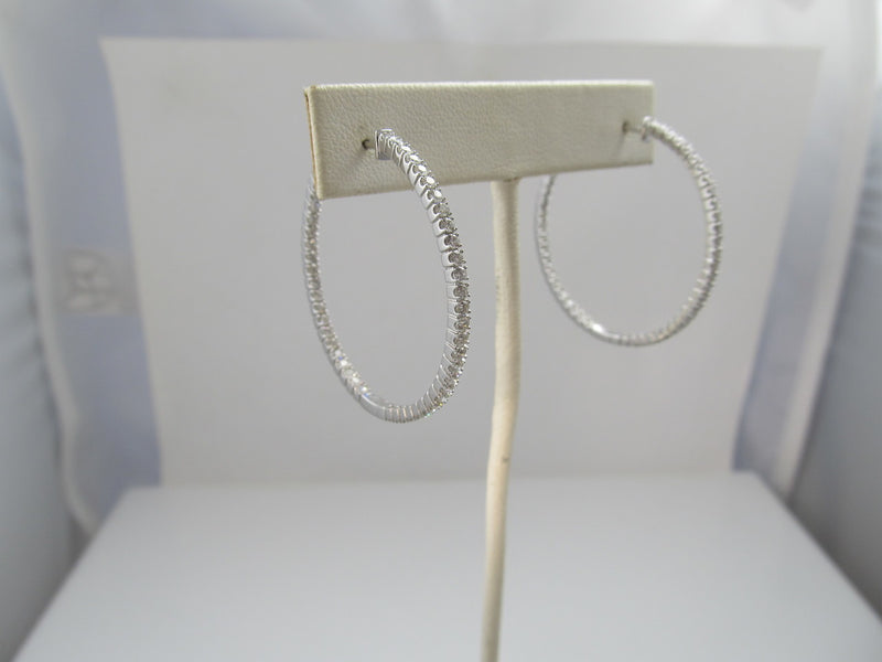 14k white gold hoop earrings with 2.20cts in diamonds