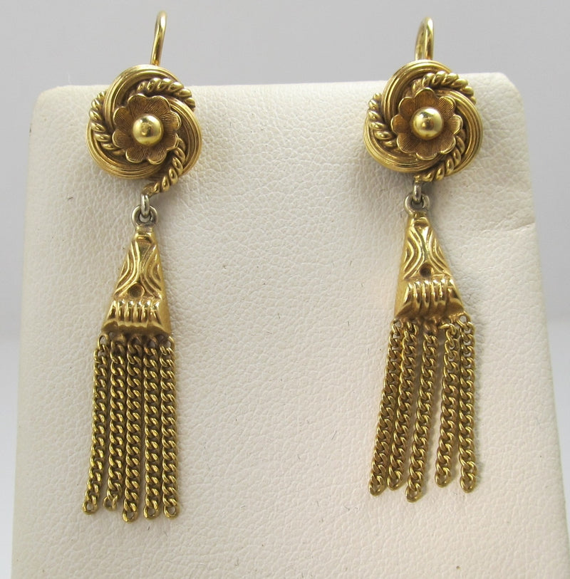 Vintage 18k Yellow Gold Tassel Drop Earrings, Circa 1950