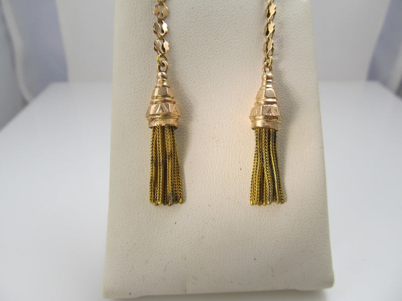 Antique 14k Rose And Yellow Gold Tassel Earrings, Circa 1880
