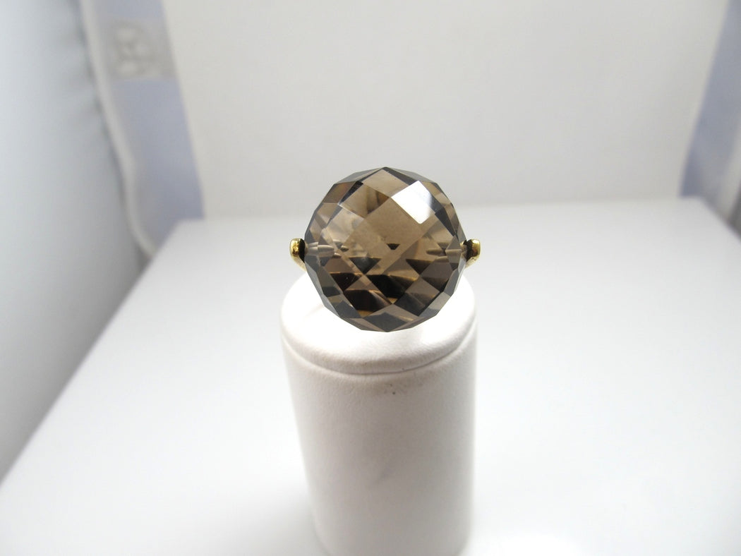 Vintage modern 14k yellow gold ring with smokey quartz, circa 1960