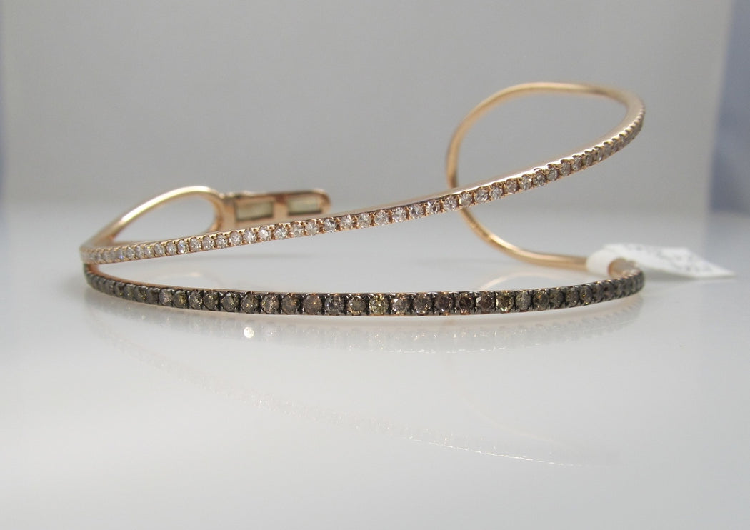 14k rose gold bracelet with 2cts in white and brown diamonds, signed Sofia