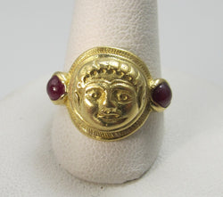 18k Yellow Gold Face Ring With Rubies