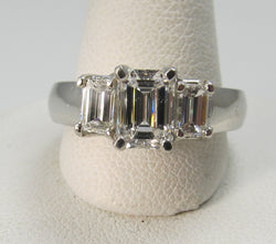 Platinum Ring With 1.66cts Tw In Emerald Cut Diamonds