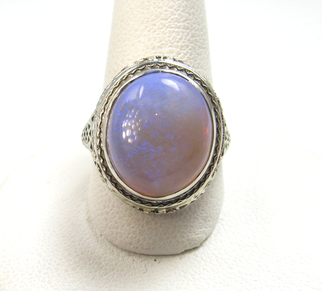 vintage opal filigree ring, victorious cape may