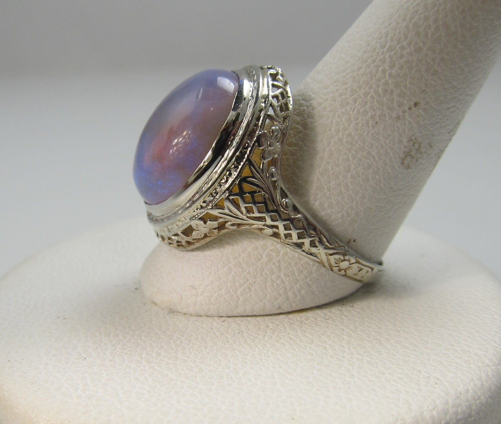 14k White Gold Filigree Ring With A 5.50ct Opal, Circa 1920