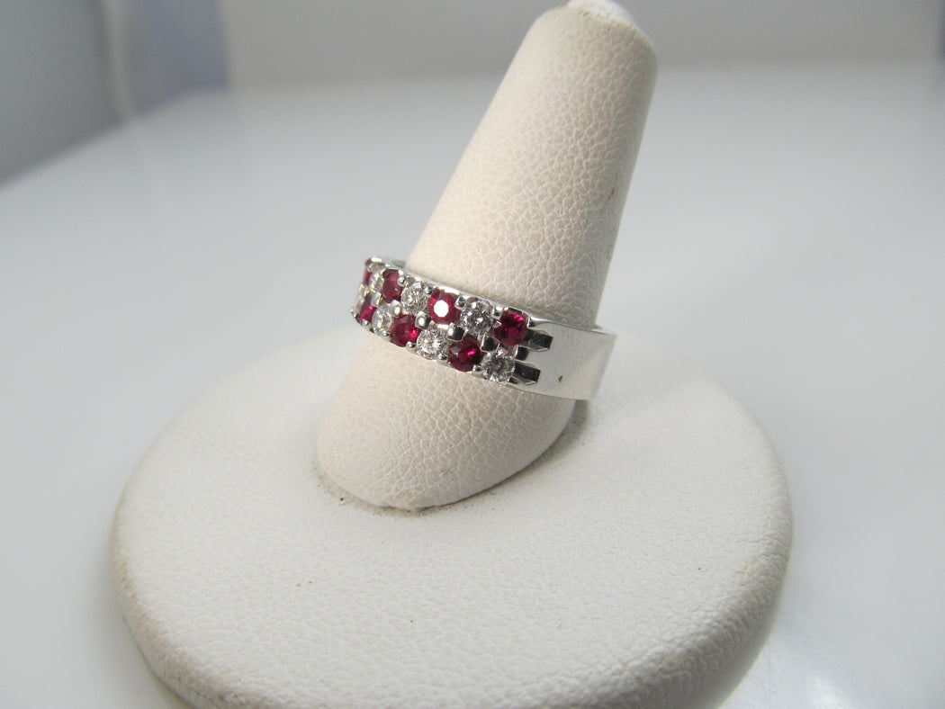 14k White Gold Band With .40cts In Diamonds And .60cts In Rubies