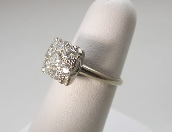 Vintage diamond cluster engagement ring, 14k white gold