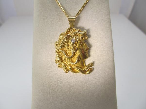 18k diamond Medusa head necklace