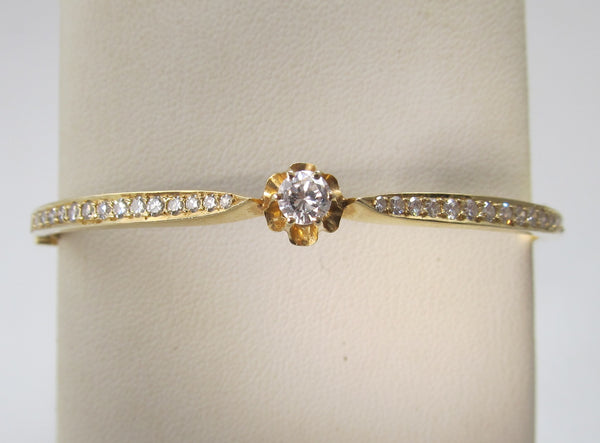 Antique style 14k yellow gold diamond bangle bracelet