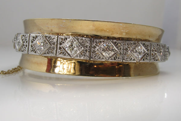 Vintage 3.00ct diamond bangle bracelet