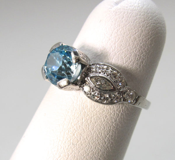 Vintage platinum blue zircon diamond ring