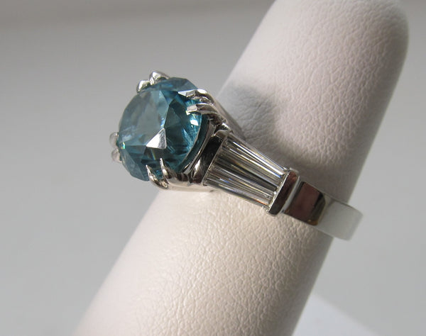 Huge natural blue zircon and diamond ring