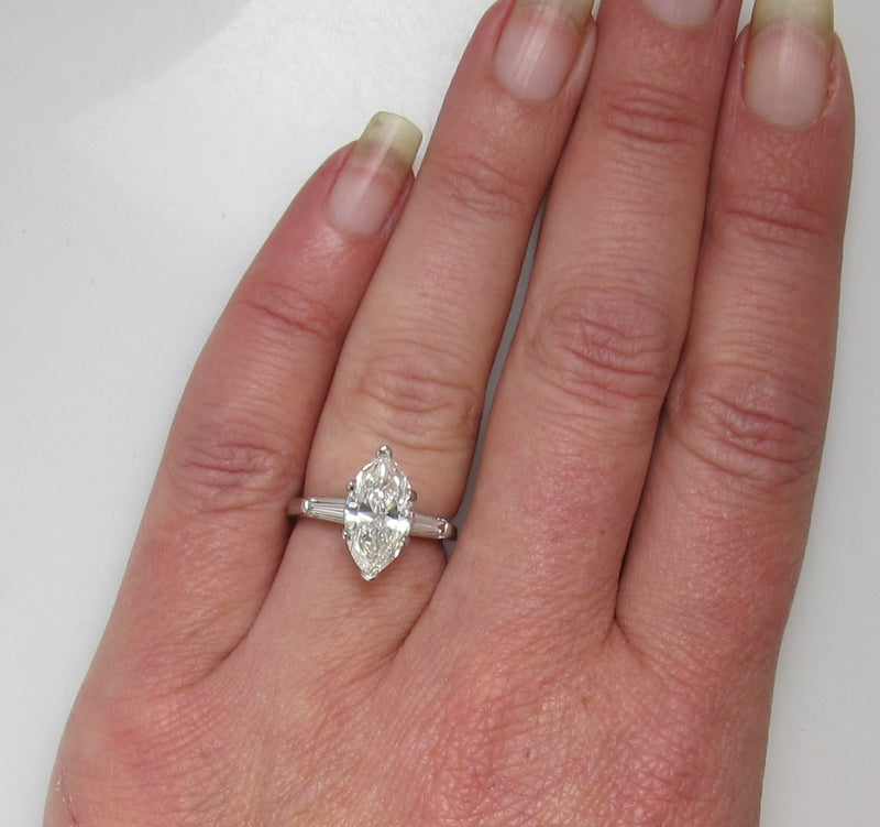 Wow!  2.43ct marquise cut diamond engagement ring
