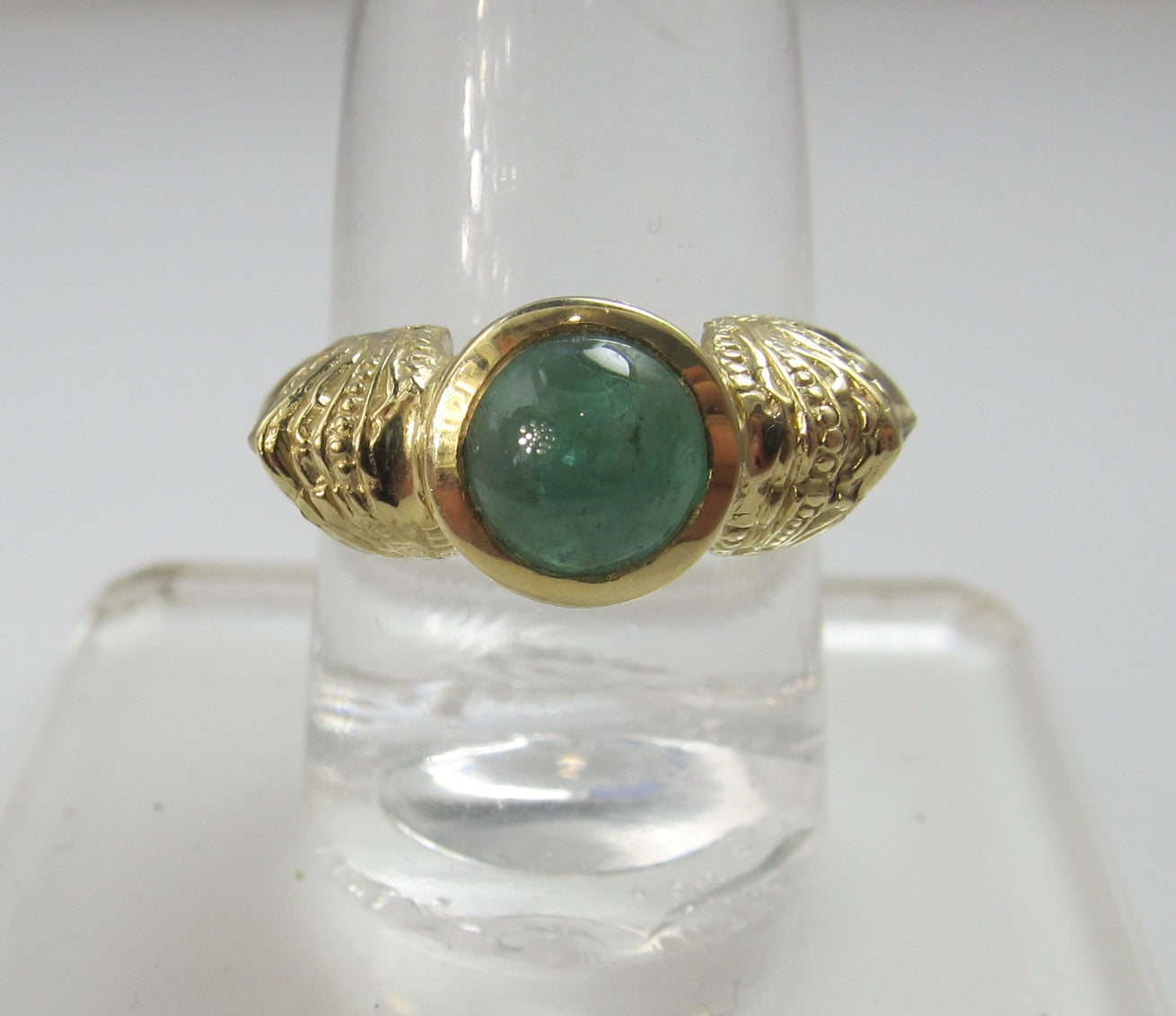 14k Yellow Gold Emerald Ring With Faces