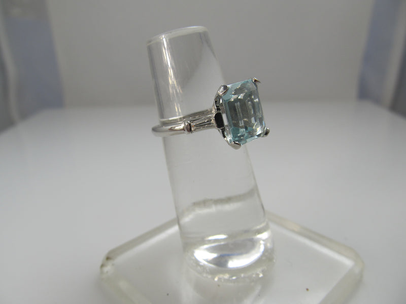 Vintage Platinum Ring With A 3.94ct Aquamarine And .33cts In Diamonds