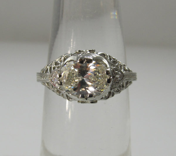 antique oval diamond engagement ring, victorious cape may