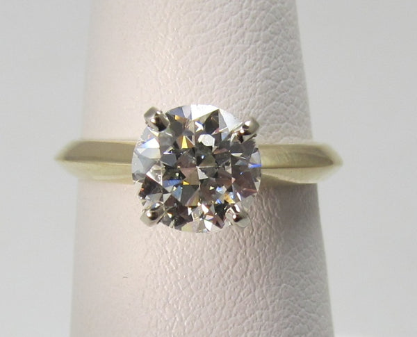 1.45ct old cut diamond engagement ring, 14k yellow gold