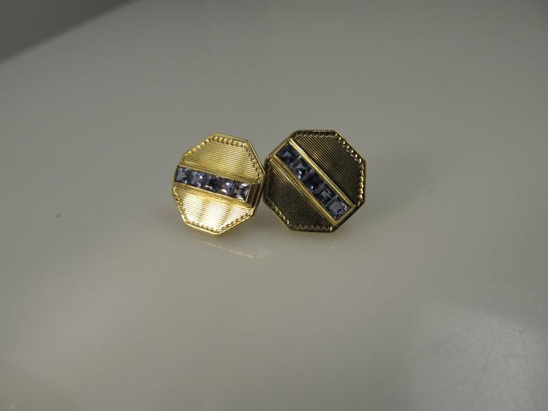 14k Yellow Gold Earrings With Sapphires, Converted From Cufflinks, Circa 1920.