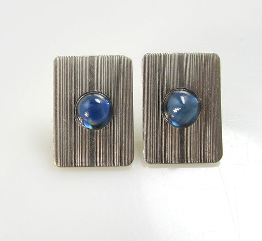 Vintage 14k Yellow Gold And Platinum Earrings With Sapphires, Circa 1920