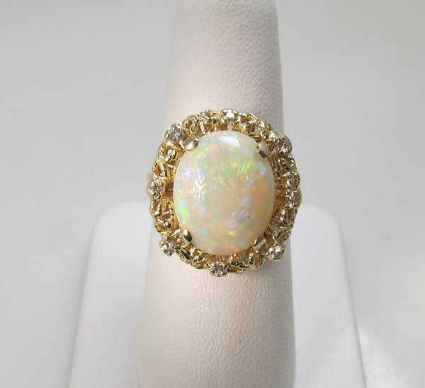 Huge 7.00ct opal ring with diamonds