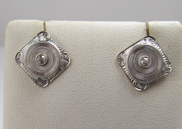 Vintage platinum diamond converted cufflink earrings, Victorious Cape May