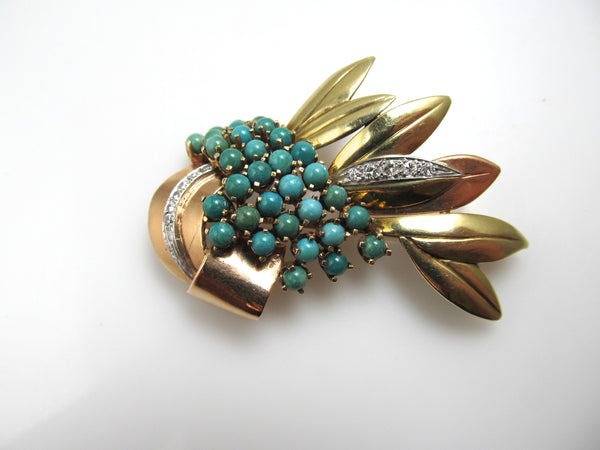 Vintage Retro 14k Rose And Yellow Gold Pin With Diamonds And Turquoise, Circa 1940.
