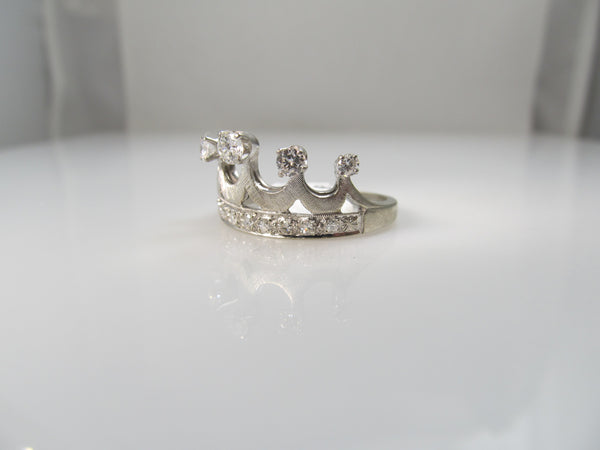 14k White Gold Crown Ring With .75cts In Diamonds