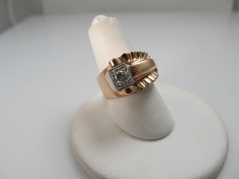 Vintage Retro 14k Rose Gold Ring With A .25ct Diamond, Circa 1940
