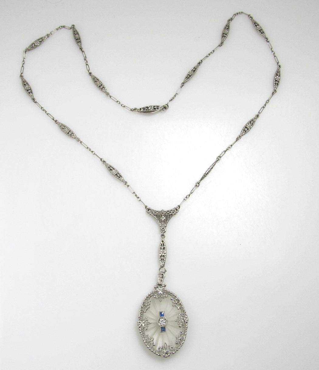 Antique filigree camphor glass necklace, victorious cape may