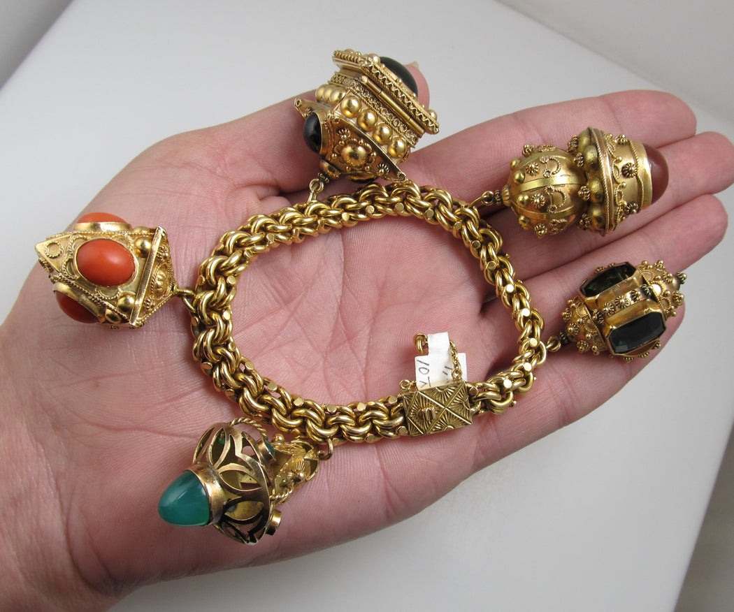 Heavy 18k Yellow Gold Etruscan Revival Charm Bracelet With Gemstones, Italy, 1960's