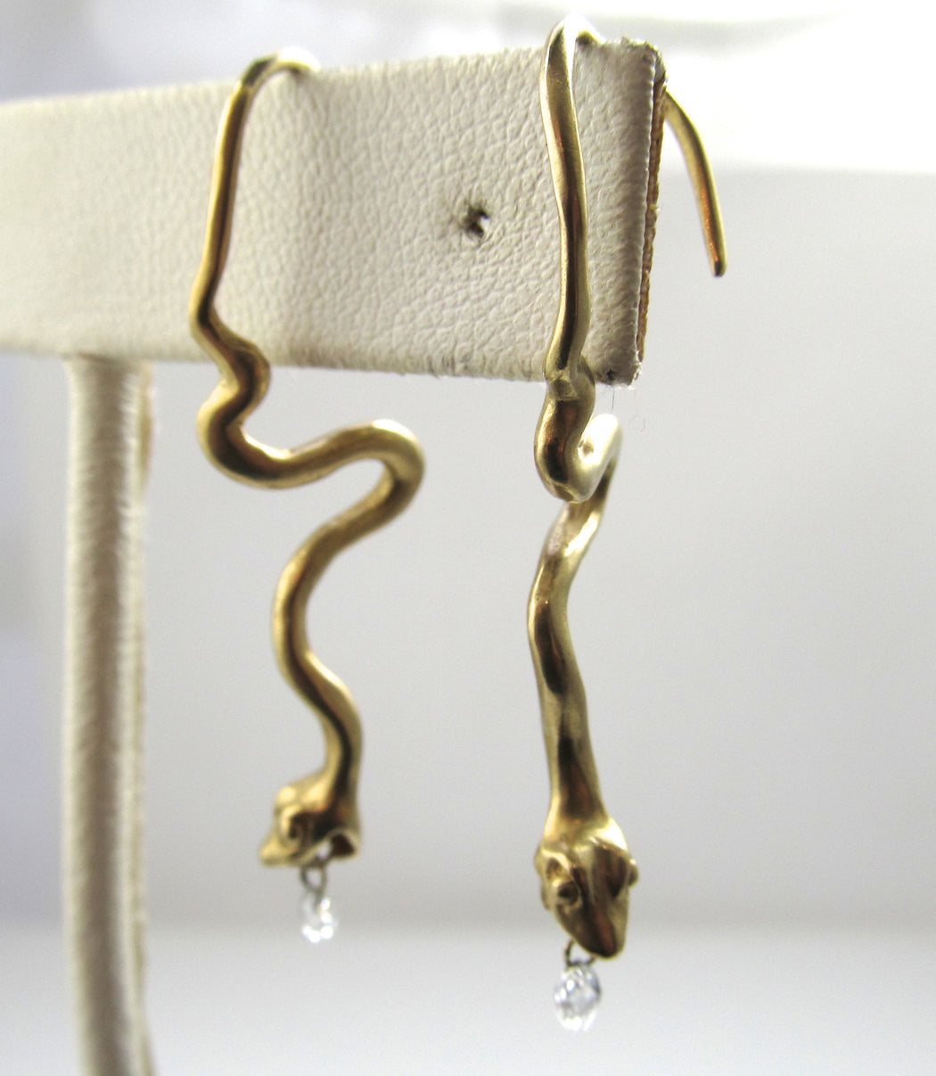 14k Yellow Gold Snake Earrings With Diamond Briolettes.
