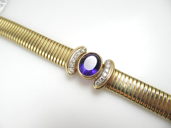 14k Gold Bracelet With A 5ct Amethyst And .40cts In Diamonds