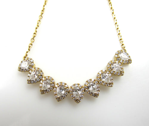 18k Yellow Gold Necklace With 2cts In Round And Pear Cut Diamonds