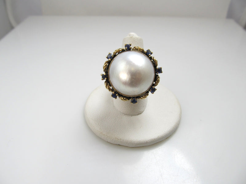 14k Yellow Gold Ring With Sapphires And A Large Mabe Pearl, Circa 1960
